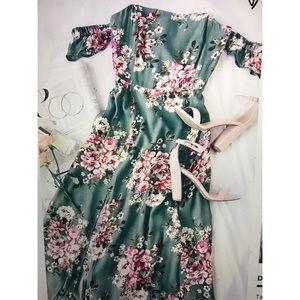 Lulu*s Sage Green Floral Maxi Dress